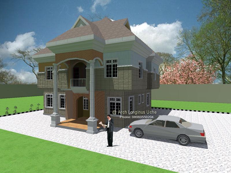 3d Architectural Building Plan Design Of Bungalow House 3 Bedroom