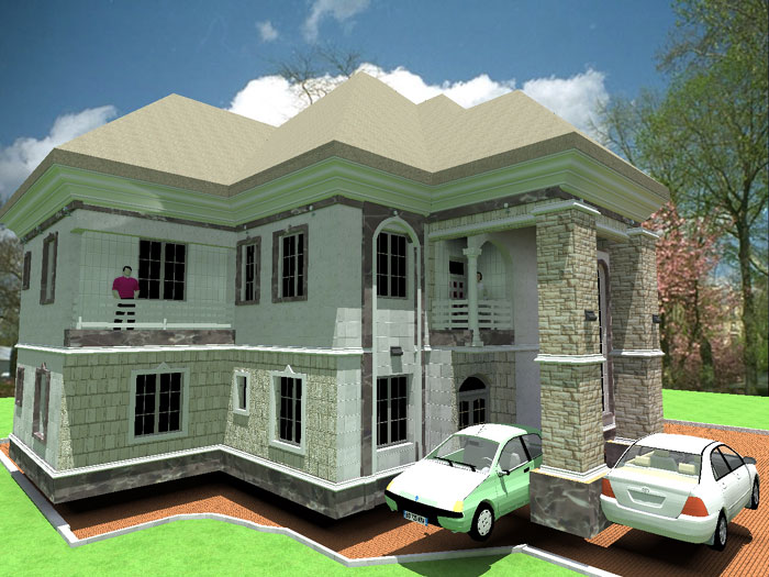 3d Architectural Building Plan Design Of Bungalow House 3 Bedroom