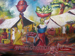 african painting evening market scene oil on canvas by artist chembx uche