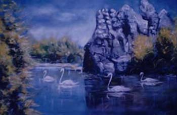 african river activities painting oil color on canvas by chembx uche