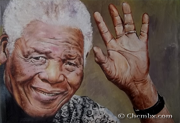 Hand Painted portrait of Nelson Mandela